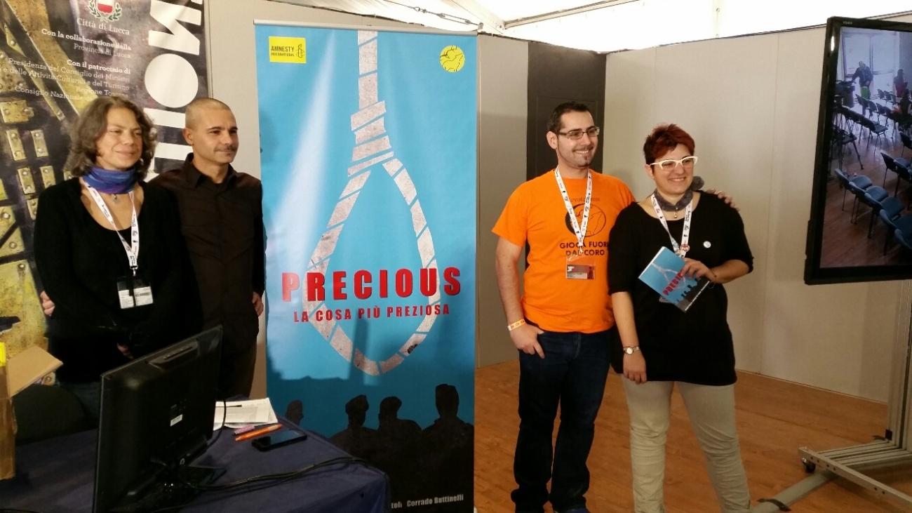 Rotoli, Buttinelli, Frigerio, Benedetto presentazione @LuccaGames; ph luccaindiretta.it