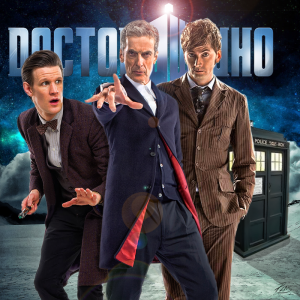 Peter Capaldi, con i suoi predecessori, Matt Smith e David Tennant