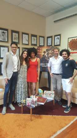 Vietina e Pardini con 3 dei 4 protagonisti di We Are Lucca